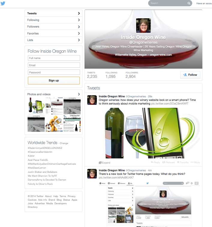 new look for twitter home pages
