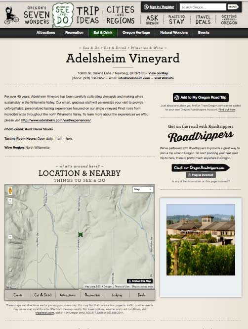 Travel Oregon Adelsheim page